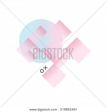 Gradient geometric forms in pink and blue colors, trendy colorful abstract geometric objects, design for label, presentation, poster, banner or card, modern decoration shapes and figures vector Illustration on a white background