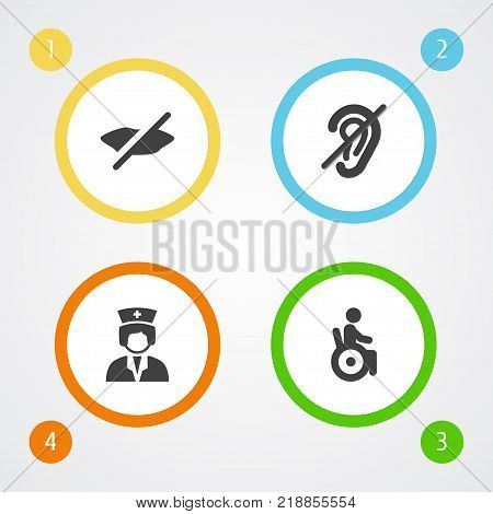 Collection Of Can Not Speak, Assistance, Universal Access And Other Elements.  Set Of 4 Disabled Icons Set.
