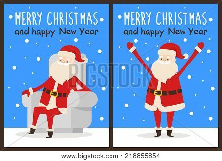 Merry Christmas and happy New Year Santa congrats on set of snowy posters. Vector illustration with happy smiling xmas symbol in different poses