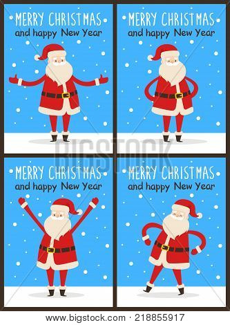 Merry Christmas and happy New Year Santa Claus set of snowy light posters. Vector illustration with congratulation from cute fairytale character