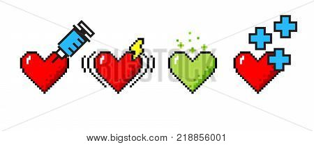 Vector set of 4 8-bit pixel art hearts. Medical concepts of healing, heart stroke, poisoning, good health.