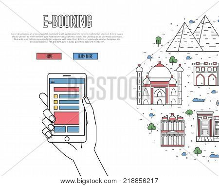 Online tickets ordering poster with egyptian famous architectural landmarks in linear style. E-booking vector with smartphone in hand, mobile payment. African traveling, Egypt historic attractions