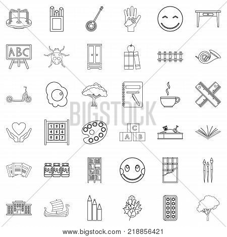 Playground icons set. Outline style of 36 playground vector icons for web isolated on white background