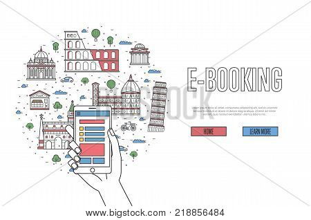 E-booking poster with italian famous architectural landmarks in linear style. Online tickets ordering, mobile payment concept with smartphone in hand. World traveling, Italy historic attractions