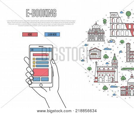 Online tickets ordering poster with italian famous architectural landmarks in linear style. E-booking vector with smartphone in hand, mobile payment. World traveling, Italy historic attractions