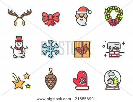 Christmas icons colorful, poster with horns of reindeer, snowman and Santa Claus with wreath, present and stars, chimney and ball vector illustration