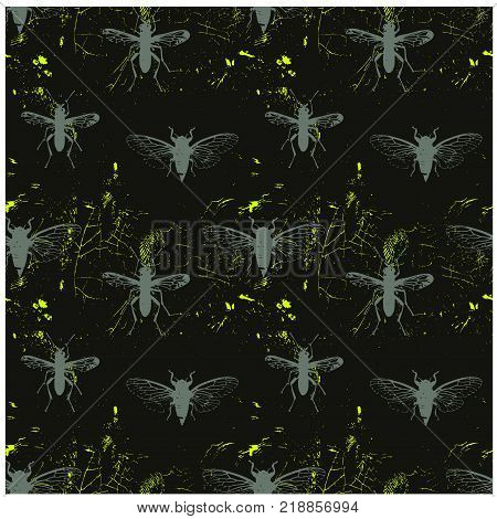 Insect world vintage worn out seamless pattern for web, textile and print. Grunge effect, worn out style, retro pattern with flies, butterflies and mosquitos.