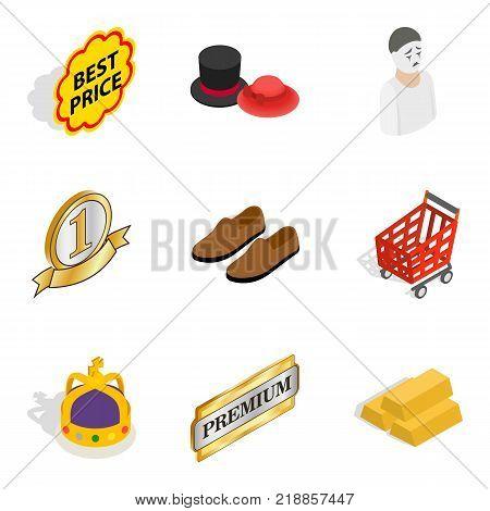 Clothing accessories icons set. Isometric set of 9 clothing accessories vector icons for web isolated on white background