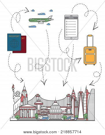 Time to travel infographics with famous american architectural attractions, travel bag, passport, plane and smartphone in linear style. Online tickets ordering, worldwide tourism vector background.