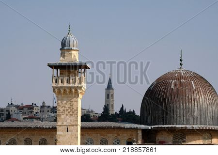 Al-Aqsa dome and minaret in Old City of Jerusalem.