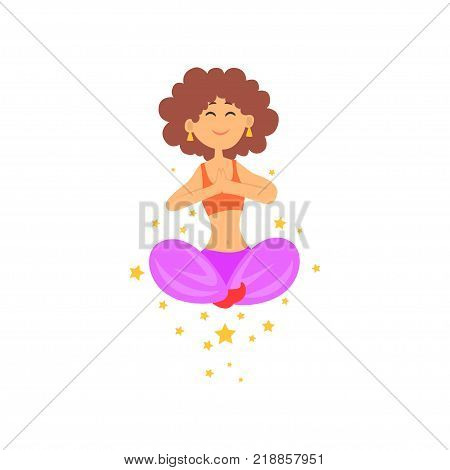 Circus performer showing levitation magic trick. Woman floating in sitting position with legs crossed. Cartoon magician character in mid air. Colorful flat vector illustration isolated on white.