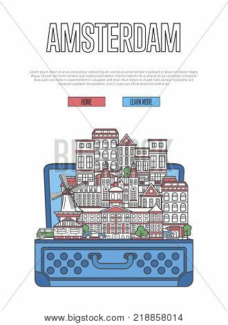 Amsterdam city poster with famous architectural attractions in open suitcase. Worldwide traveling and time to travel vector. Amsterdam landmarks, european touristic tour concept in linear style.