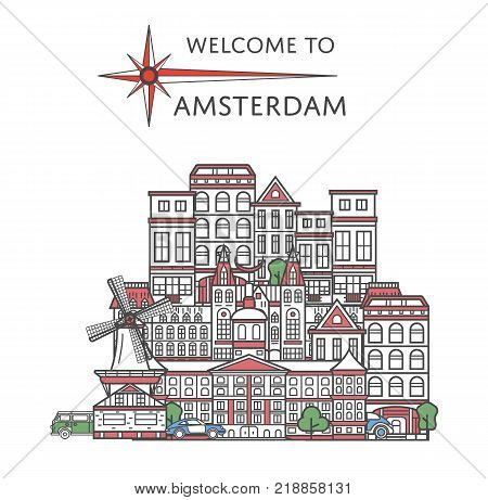 Welcome to Amsterdam poster with famous architectural attractions in linear style. Worldwide traveling and time to travel concept. Amsterdam city landmarks panorama, european tourism vector background