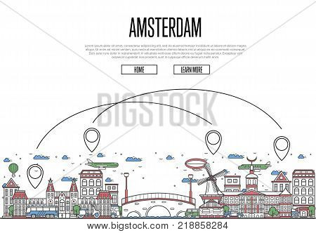 Air travel to Amsterdam poster with historic architectural attractions and air route symbols in linear style. Amsterdam landmarks on white background. European airway tourism vector illustration.
