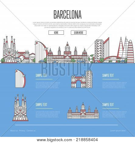 Barcelona city travel vacation guide with most important architectural attractions in linear style. Barcelona skyline with famous landmarks. Spanish traveling and european journey vector concept
