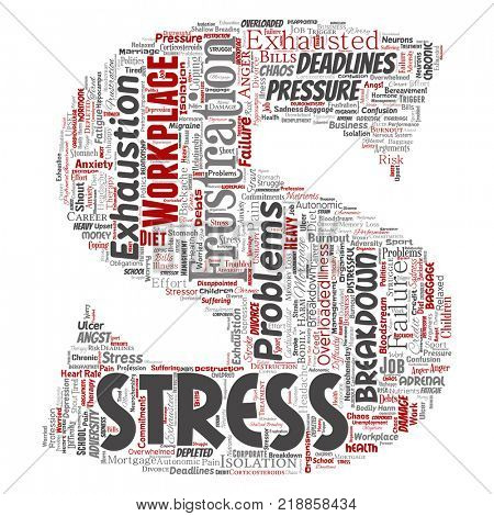 Conceptual mental stress at workplace or job pressure human letter font S word cloud isolated background. Collage of health, work, depression problem, exhaustion, breakdown, deadlines risk
