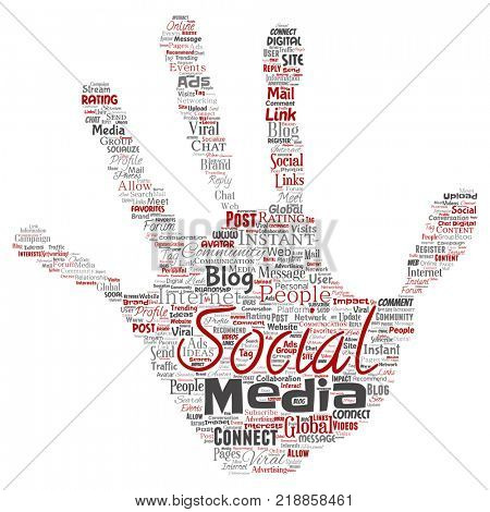Conceptual social media networking or communication web marketing technology hand print stamp word cloud isolated on background. A tagcloud for global community worldwide concept or advertising