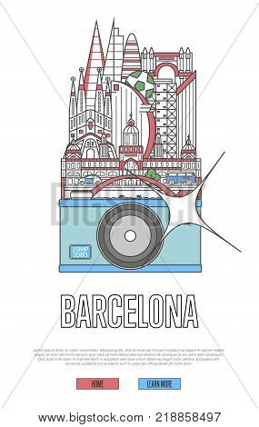 Travel Barcelona poster with famous architectural attractions on big camera. European traveling advertising, time to travel vector concept in linear style. Barcelona historic landmarks, german tourism