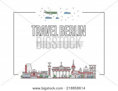 Travel Berlin poster with famous architectural attractions in linear style. German traveling and time to travel concept. Berlin landmarks, city skyline, european tourism and journey vector background