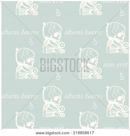 Absens haeres non erit an absent person will not be an heir - in latin language seamless pattern for web, textile and print.