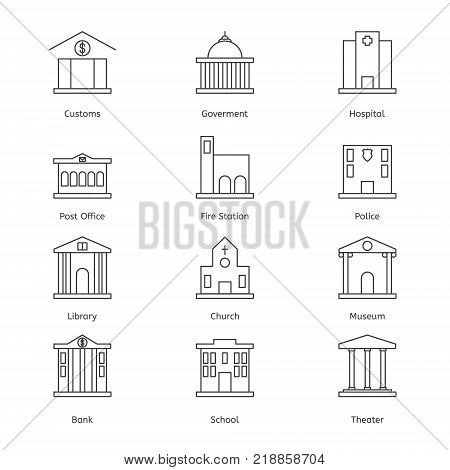Government building icons set of police museum library theater isolated flat design vector illustration