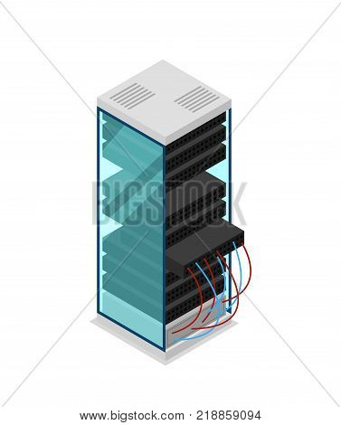 Computer server rack isometric 3D icon. Data centre sign, internet network, cloud database, computer technology vector illustration.