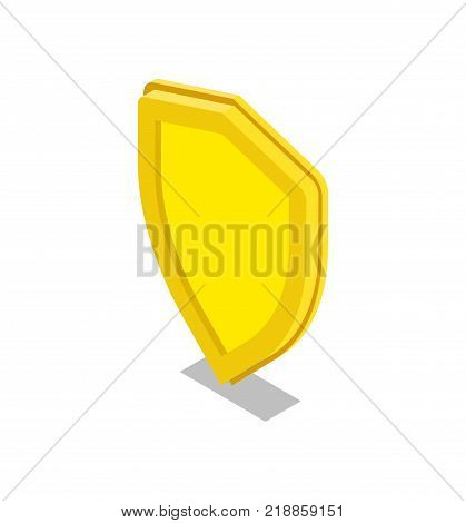 Yellow shield isometric 3D icon. Security system symbol, payment safety, financial data protection, antivirus software vector illustration