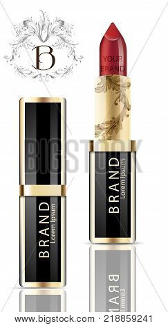 Red lipstick realistic packaging Vector. Mock up Original golden tube with Brand label decor