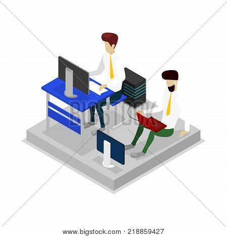 Programmers work on computers isometric 3D icon. Programing process in modern office workspace concept vector illustration.