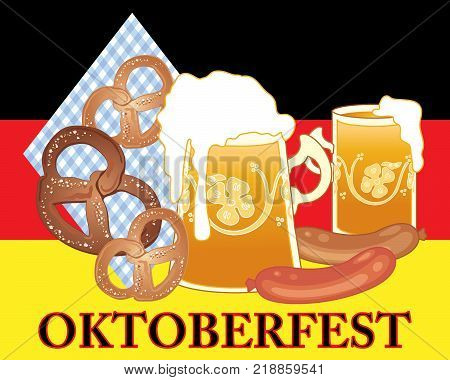 an illustration of an advert for oktoberfest festival with golden beer in fancy tankards pretzels and sausage on a german flag background