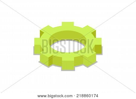 Mechanic gear isometric 3D icon. Business concept, mechanical equipment isolated vector illustration