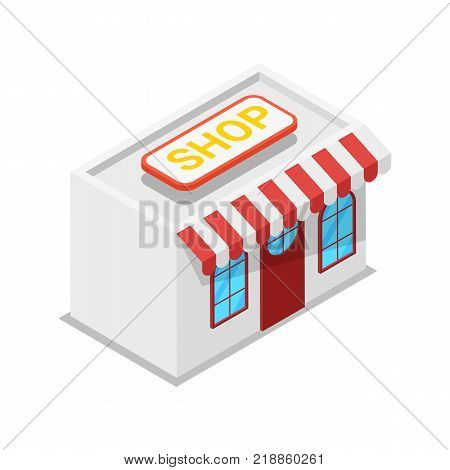 Shop building isometric 3D icon. Supermarket shopping symbol, retail and distribution isolated vector illustration.