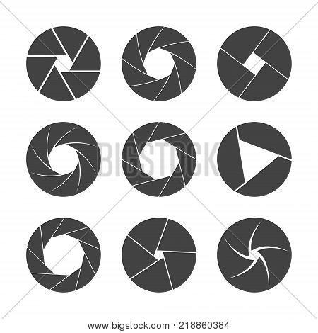 black camera shutter isolated on white background vector illustration