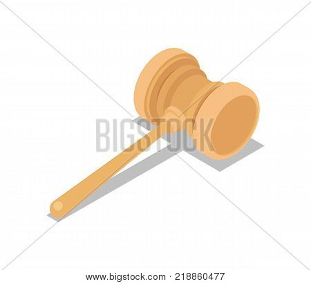 Auction gavel isometric 3D icon. Online shopping sign isolated on white background vector illustration.