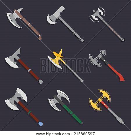 Axes and battle axes Collection vector illustration