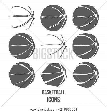 Basketball Set isolated on white background vector illustration
