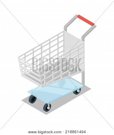 Empty shopping trolley cart isometric 3D icon. Supermarket shopping symbol, retail and distribution isolated vector illustration.