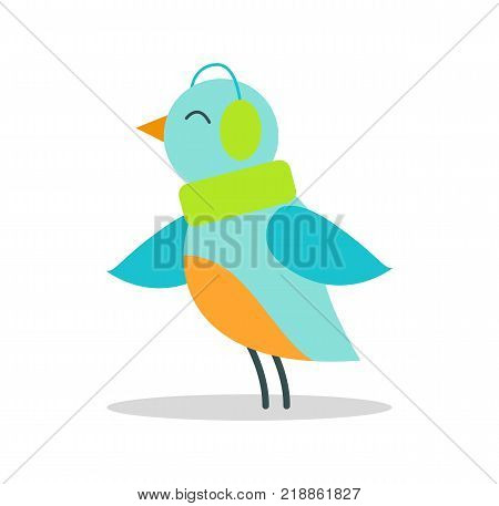 Bird with blue plumage in warm earpieces stands on thin legs isolated and listen to music vector illustration on white. Christmas animal in headgear.