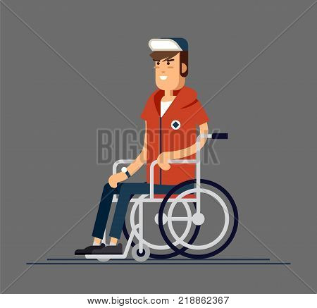 Young beautiful man sitting in wheelchair, cartoon vector flat illustration. Happy man sitting in wheelchair, living with disability, equal opportunities concept