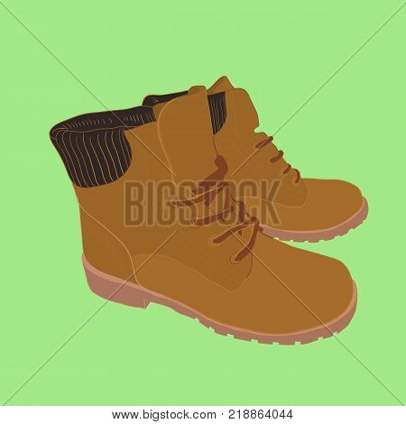 Vector illustration of hand drawn colorful men and women Footwear in isometric style. Shoes Casual and sport style, gumshoes, boots for cold seasons. Doodle, drawing Design isolated object.