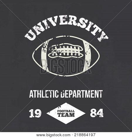University football athletic dept. - Vintage print for sportswear apparel in custom colors
