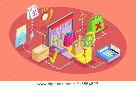 Isometric concept of online shopping. Safe shopping online with payment options. Vector illustration