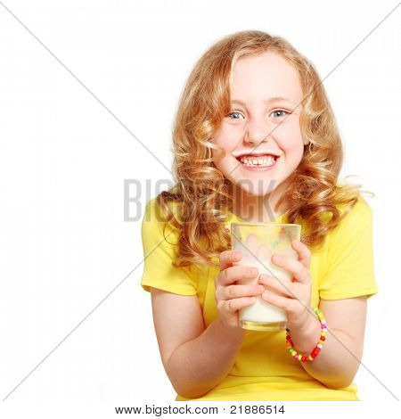 child drinking milk healthy teeth and smiling