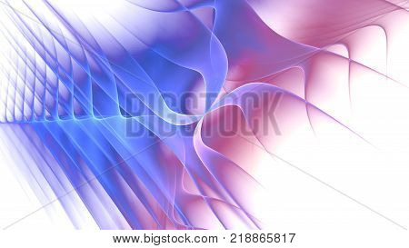 Blue and red fractal curves on white computer generated abstract background 3D rendering