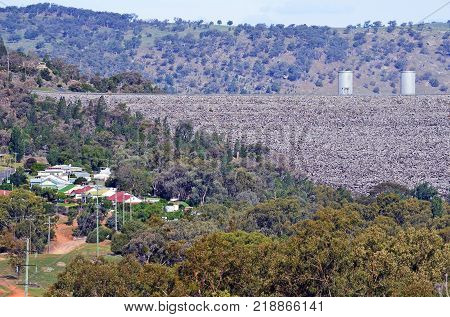 Township of Wyangala located downstream of the rock filled embankment of Wyangala Dam in the Lachlan River Valley, central west region, of New South Wales, Australia