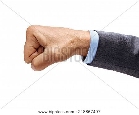 Man's hand in suit with closed fist isolated on white background. High resolution product. Close up