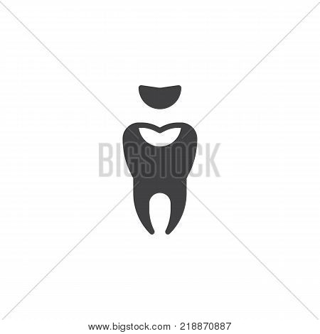 Decayed tooth icon vector, filled flat sign, solid pictogram isolated on white. Symbol, logo illustration.