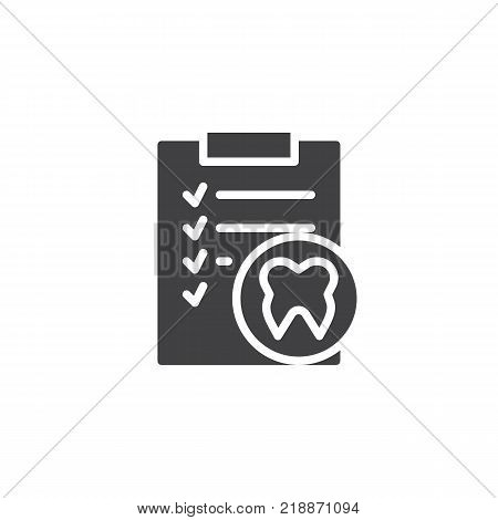Clipboard with human tooth icon vector, filled flat sign, solid pictogram isolated on white. Docs dental paper symbol, logo illustration.