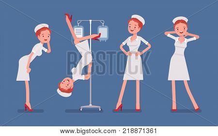 Sexy nurse in provocative poses. Attractive elegant woman in retro hospital outfit posing in seductive way, dropper as dance pole. Medicine, healthcare concept. Vector flat style cartoon illustration