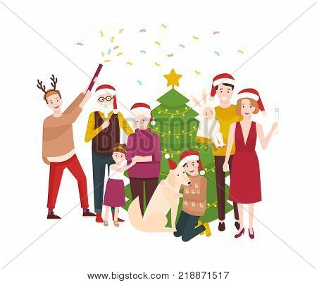 Large happy family celebrating Christmas. Smiling cartoon people in santa hats standing around spruce tree decorated by garlands. Holiday party. Festive colorful vector illustration in flat style
